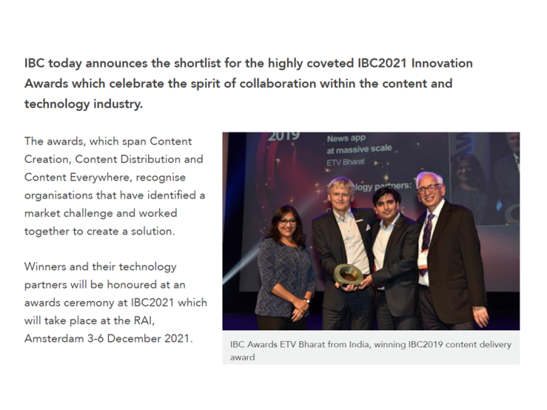 Migo shortlisted for highly coveted IBC 2021 Innovation Awards