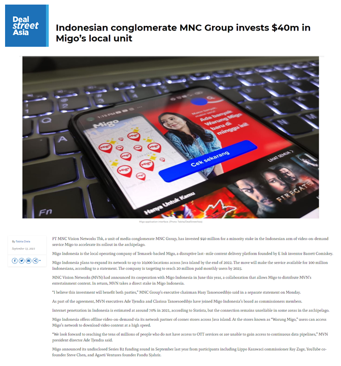 DealStreetAsia coverage: Indonesian conglomerate MNC Group invests $40m in Migo's local unit